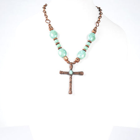 Copper, Turquoise, and Copper Cross Necklace