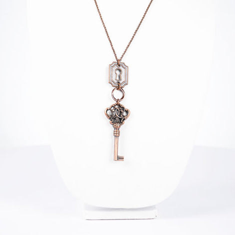 Pewter, Antique Bronze, Square Lock and Key Tassel Necklace