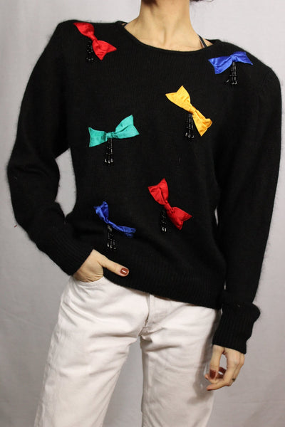 Bow Tie Women's Pullover Black Size M-Pullovers & Cardigans-Bij Ons Vintage-Bij Ons Vintage