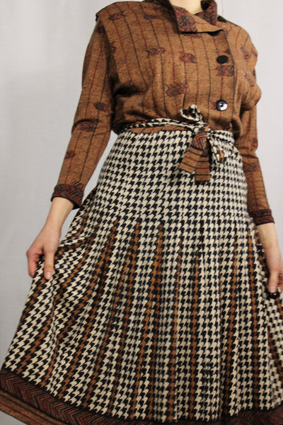 70's Women's Dress Brown Size 38/40-Dresses & Jumpsuits-Bij Ons Vintage-38/40-Bij Ons Vintage