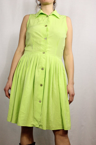 70's Women's Dress Apple Green Size 38/40-Dresses & Jumpsuits-Bij Ons Vintage-38/40-Bij Ons Vintage