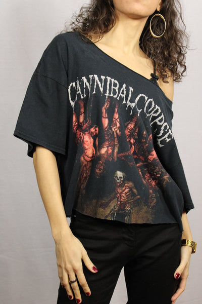 '- Cannibal Corpse - Cotton Unisex Customized Tee Black Size L-Tees & Polos-Bij Ons Vintage-L-Bij Ons Vintage