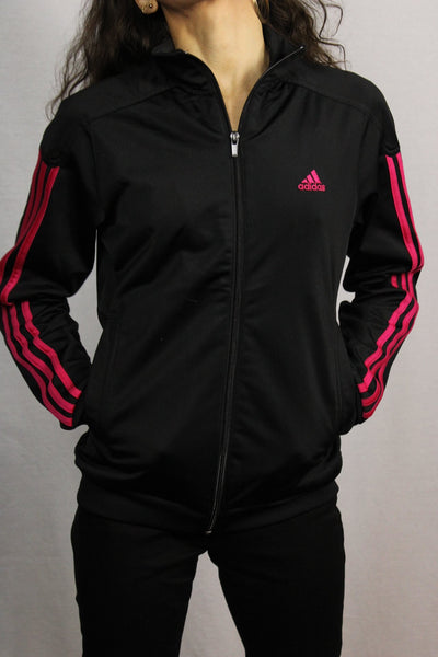 Adidas Polyester Unisex Branded Sport Jackets Black & Red Size S-Jackets-Bij Ons Vintage-S-Bij Ons Vintage