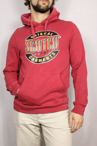Scotch & Soda Cotton Unisex Branded Hoody Red Size S-Sweaters & Hoodies-Bij Ons Vintage-M-Bij Ons Vintage