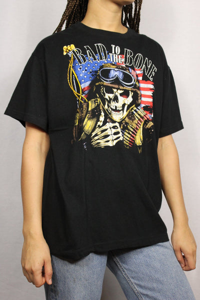 Bad to the Bone - Cotton Unisex Tee Black Size L-Tees & Polos-Bij Ons Vintage-M-Bij Ons Vintage