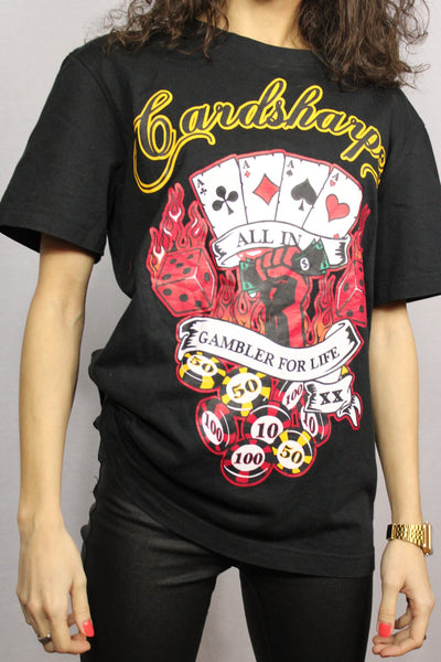 Glambler for life - Cotton Unisex Tee Black Size M-Tees & Polos-Bij Ons Vintage-M-Bij Ons Vintage