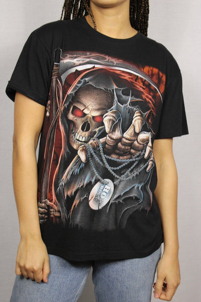 Death is Coming Cotton Unisex Tee Black Size M-Tees & Polos-Bij Ons Vintage-L-Bij Ons Vintage