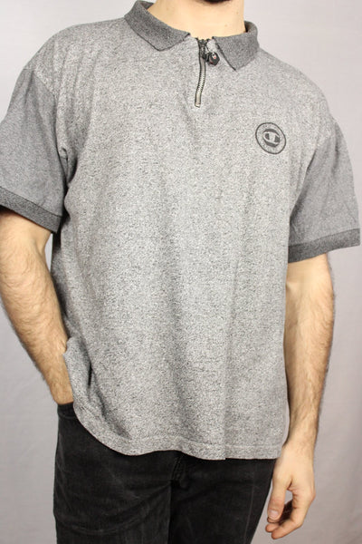 Champion Cotton Unisex Branded Polo Grey Size M-Tees & Polos-Bij Ons Vintage-S-Bij Ons Vintage