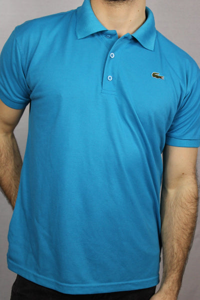 Lacoste Cotton Unisex Branded Polo Blue Size L-Tees & Polos-Bij Ons Vintage-34-Bij Ons Vintage