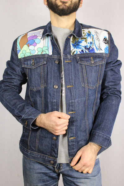 Cotton Unisex Customized Denim Jacket Dark Blue Size L-Jackets-Bij Ons Vintage-L-Bij Ons Vintage