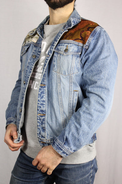 C&A Cotton Unisex Denim Customized Jacket Light Blue Size M-Jackets-Bij Ons Vintage-M-Bij Ons Vintage