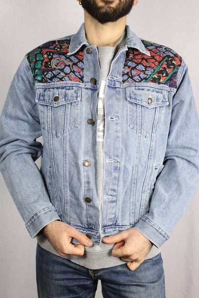 Cotton Unisex Denim Customized Jacket Light Blue Size S-Jackets-Bij Ons Vintage-S-Bij Ons Vintage