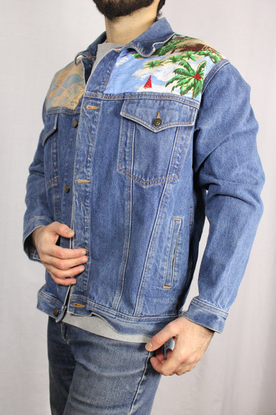 Cotton Unisex Customized Denim Jacket Blue Size L-Jackets-Bij Ons Vintage-L-Bij Ons Vintage