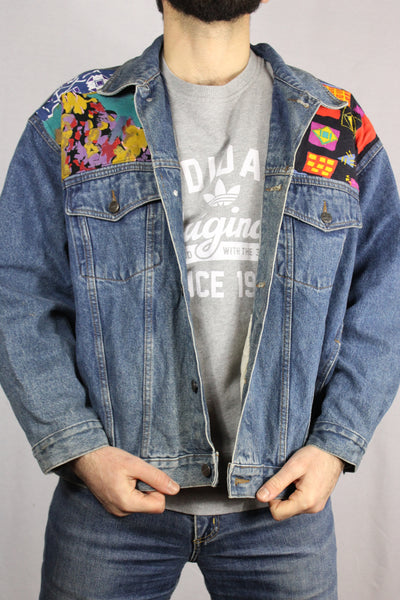 Cotton Unisex Customized Denim Jacket Blue Size XXL-Jackets-Bij Ons Vintage-XXL-Bij Ons Vintage