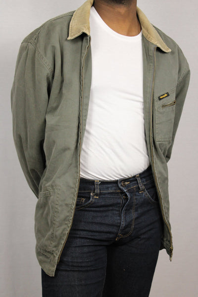 Wrangler Cotton Men's Denim Jacket Faded green Size-Jackets-Bij Ons Vintage-#REF!-Bij Ons Vintage
