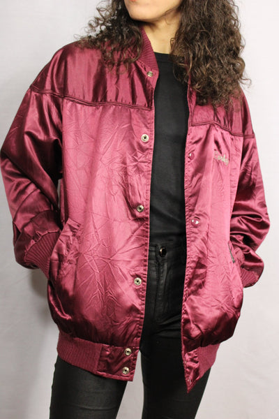 Top rail Nylon Unisex Baseball Jacket Red wine Size M-Baseball Jackets-Bij Ons Vintage-M-Bij Ons Vintage