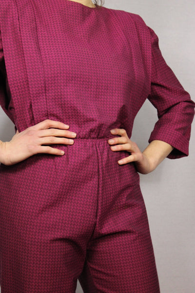 80's Polyester Women's Jumpsuit Pink Size S-Dresses & Jumpsuits-Bij Ons Vintage-S-Bij Ons Vintage
