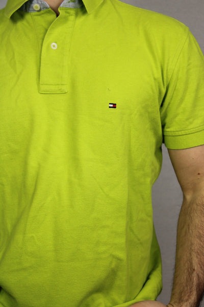 Tommy Hilfiger Cotton Unisex Branded Polo Green Size M-Tees & Polos-Bij Ons Vintage-#REF!-Bij Ons Vintage
