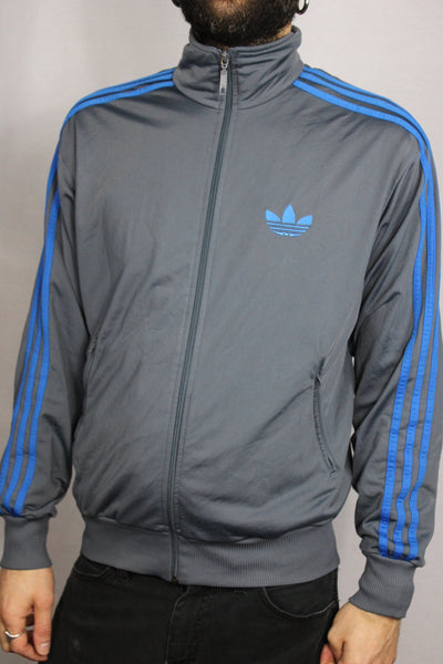 Adidas Polyester Unisex Branded Sport Jackets Grey Size M-Jackets-Bij Ons Vintage-M-Bij Ons Vintage