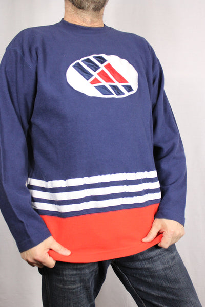Adidas Cotton Unisex Branded Sweater Blue Size L-Sweaters & Hoodies-Bij Ons Vintage-L-Bij Ons Vintage