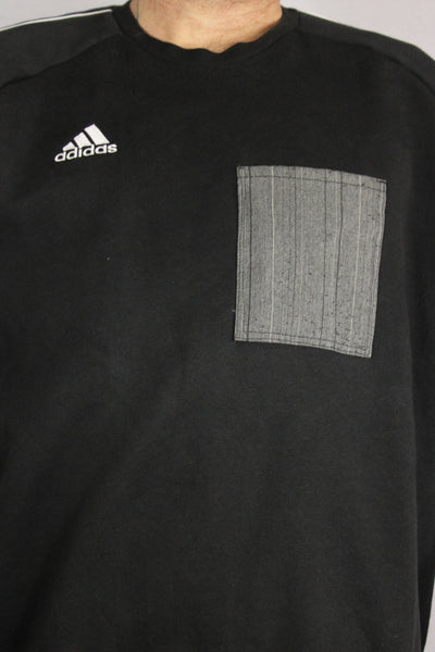 Adidas Cotton Unisex Branded Sweater Black Size XL-Sweaters & Hoodies-Bij Ons Vintage-XL-Bij Ons Vintage