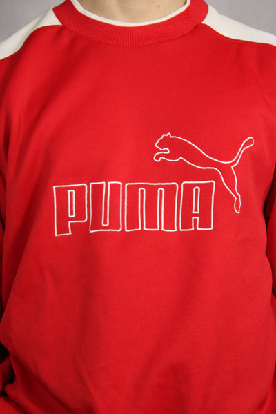 Puma Cotton Unisex Branded Sweater Red Size L-Sweaters & Hoodies-Bij Ons Vintage-L-Bij Ons Vintage