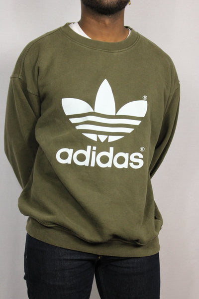 Adidas Cotton Unisex Branded Sweater Olive Green Size M-Sweaters & Hoodies-Bij Ons Vintage-M-Bij Ons Vintage