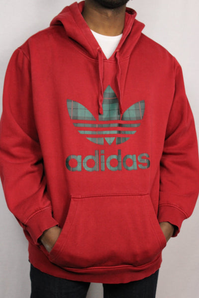 Adidas Cotton Unisex Branded Sweater Red Size L-Sweaters & Hoodies-Bij Ons Vintage-L-Bij Ons Vintage