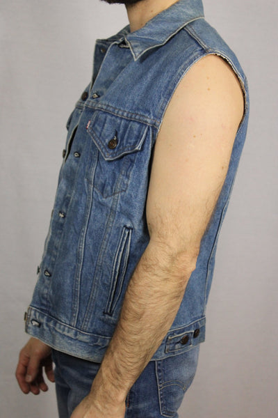 Cotton Men's Denim Vest Blue Size M-Vests-Bij Ons Vintage-m-Bij Ons Vintage