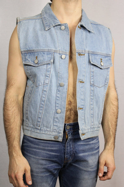 Cotton Men's Vest Light Blue Size M-Vests-Bij Ons Vintage-m-Bij Ons Vintage