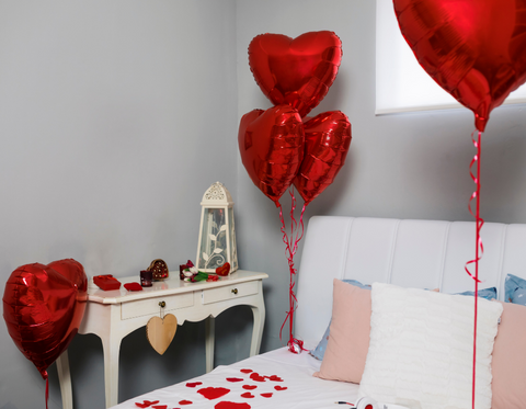 Valentine's Day balloons and decorations
