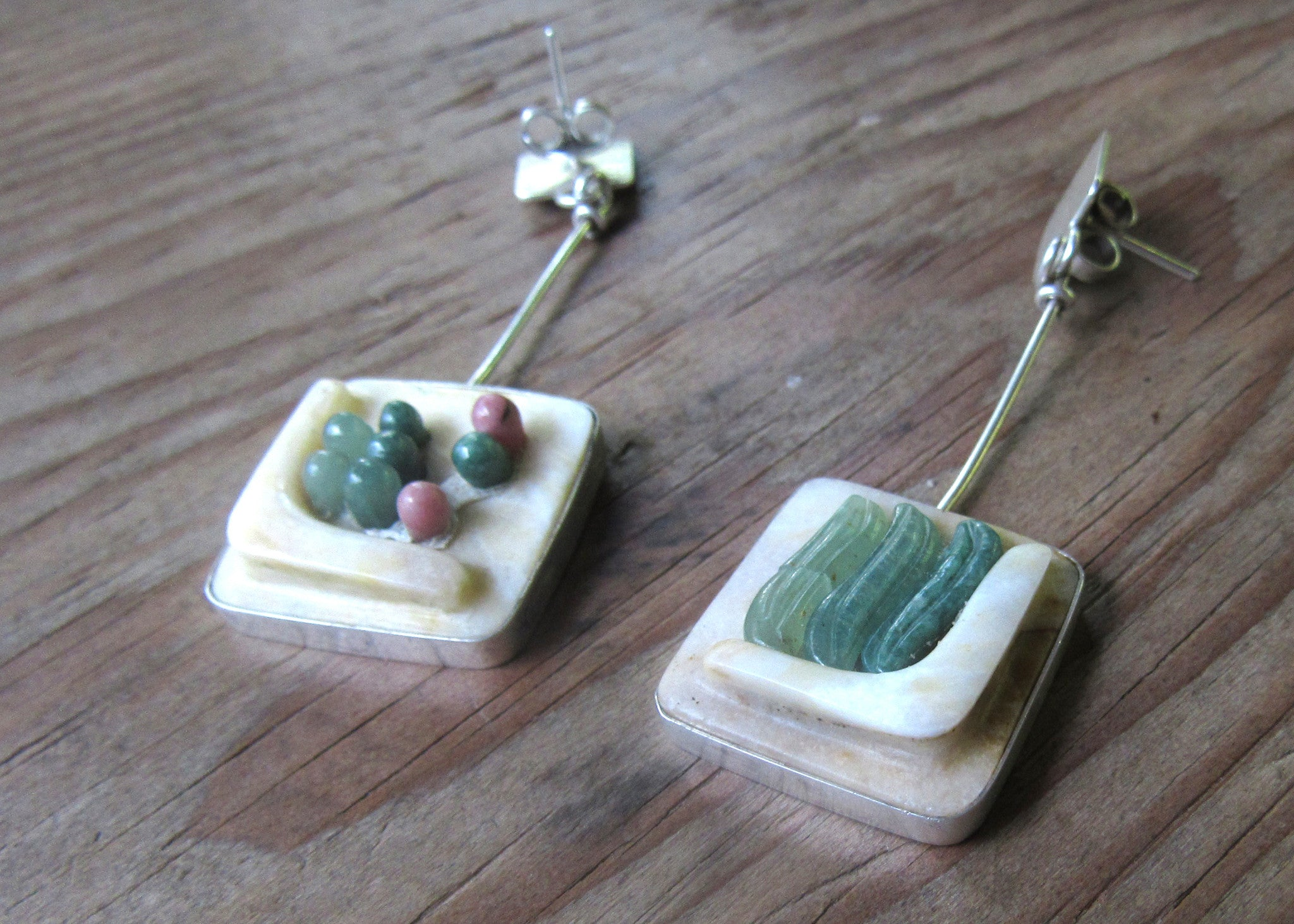 Sowing and Harvesting, jade on silver earrings