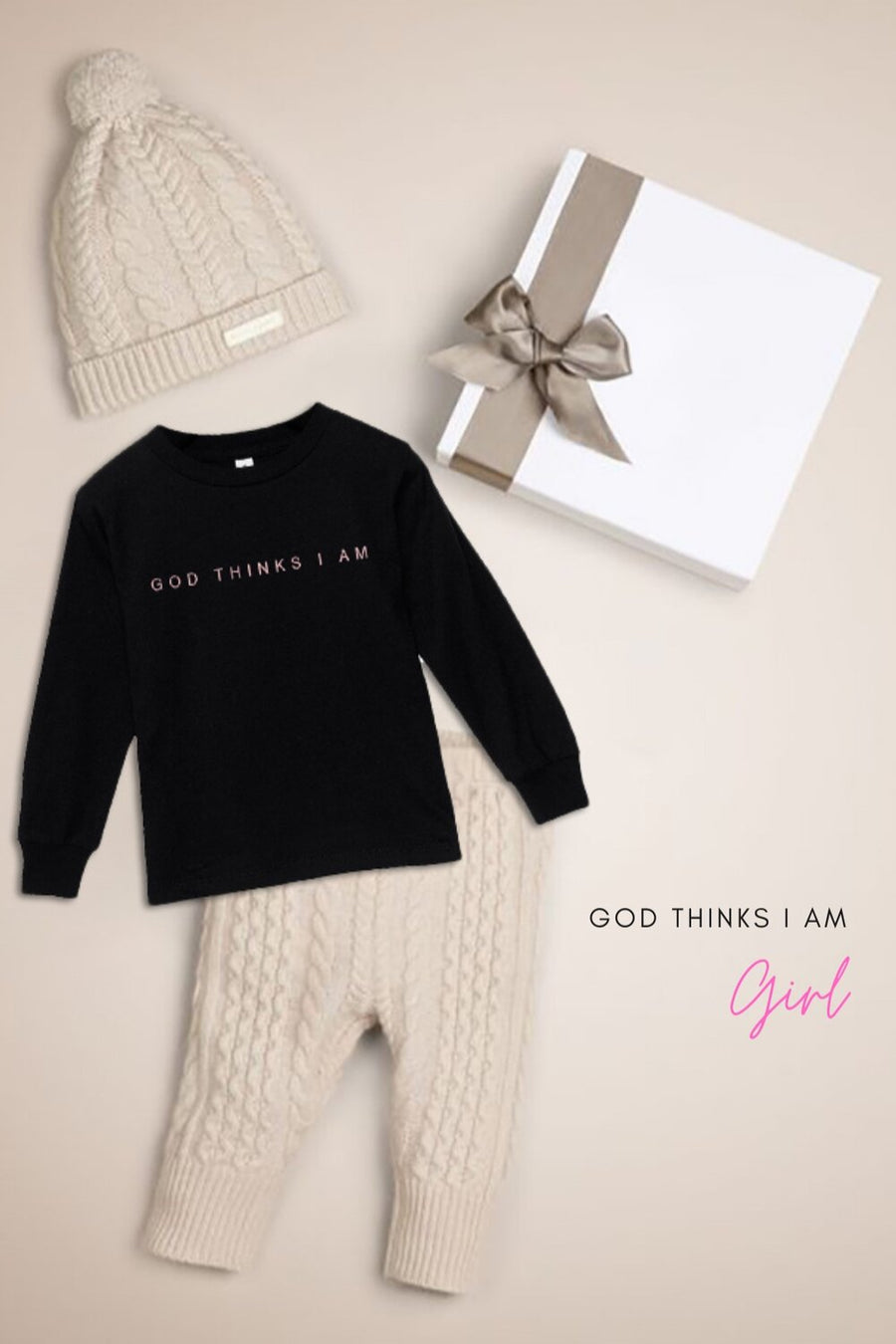 God Thinks I Am Toddler Jersey Long Sleeve Tee 2T-5T
