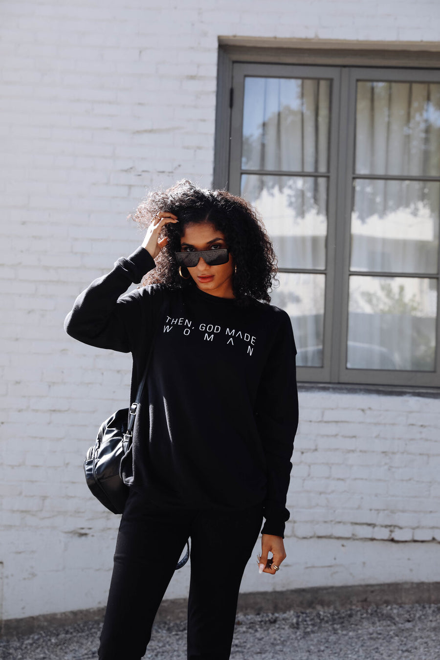 Then, God Made Woman Unisex Sweatshirt - Black