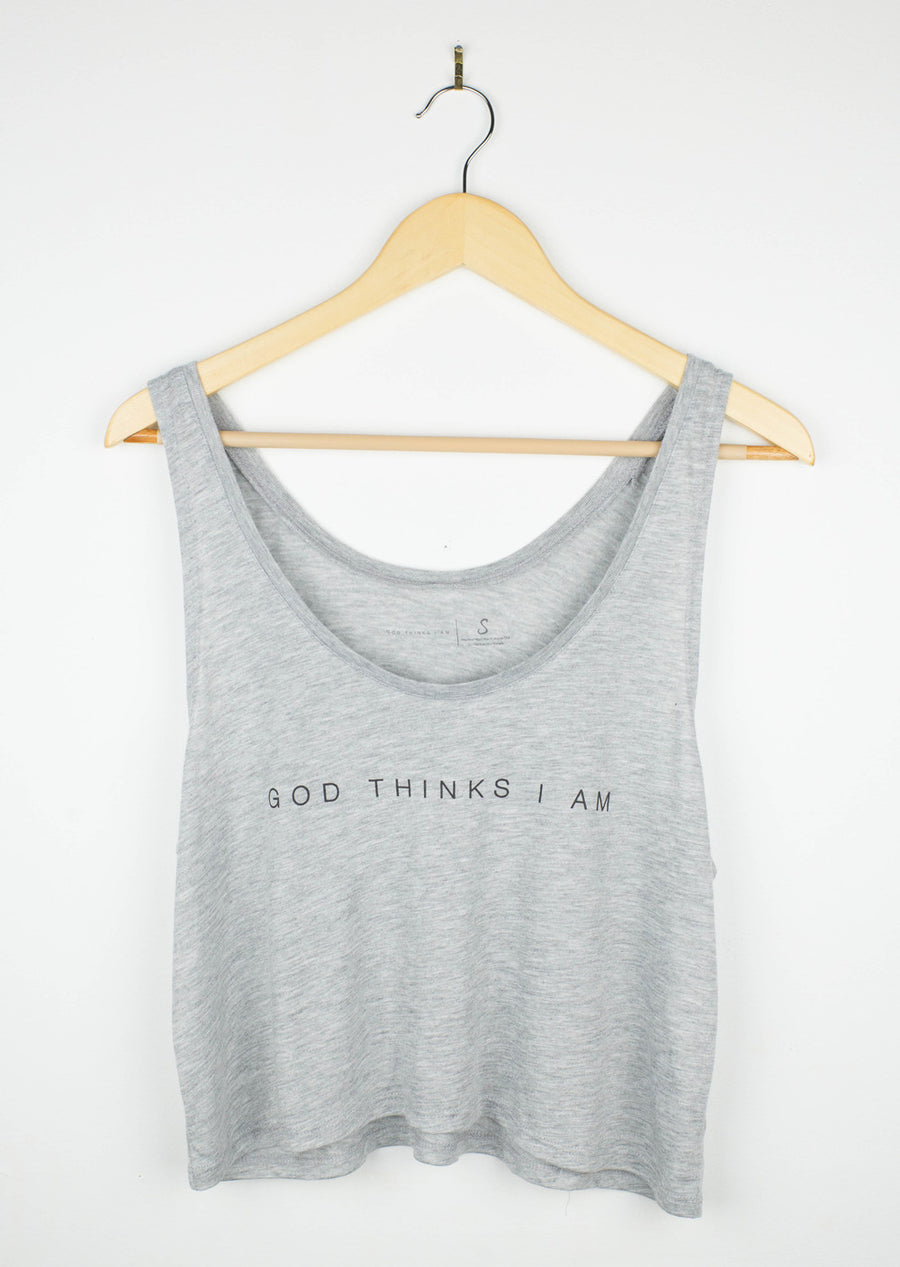 God Thinks I Am Crop Tank - Grey