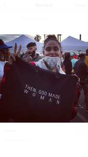 As Seen On Kehlani: Then, God Made Woman Carry All Tote Bag - Black & Cream