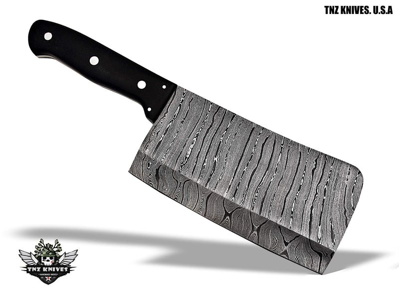 "TNZ-583 USA Damascus Handmade 12"" Kitchen Cleaver Chopper Knife With Buffalo Horn Handle"