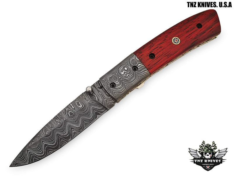 "TNZ- 32 USA Damascus Pocket Folding Knife, 8"" Long with Padok Wood Handle"