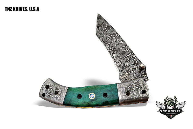 "TNZ- 480 USA Damascus 8.5"" Pocket Folding Knife with Stained Bone & Liner Lock"