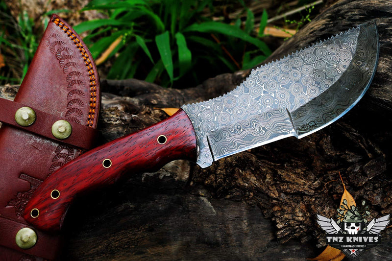 "TNZ-15 Damascus 12"" Tracker Knife With Micarta Handle"