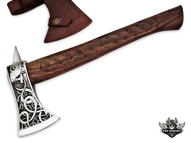 "TNZ-607 Exclusive Engraved D2 Steel Hatchet 18""Long & Rose Wood Engraved Handle"