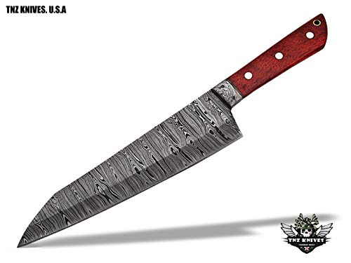 "TNZ-554 USA Damascus Handmade SANTOKU Chef Kitchen Knife 13"" Long With Rose Wood Handle"