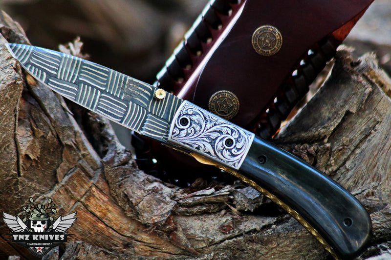 "TNZ-1180-G USA Engraved Mosaic Damascus Pocket Folding Knife,8"",Buffalo Horn & Liner Lock"