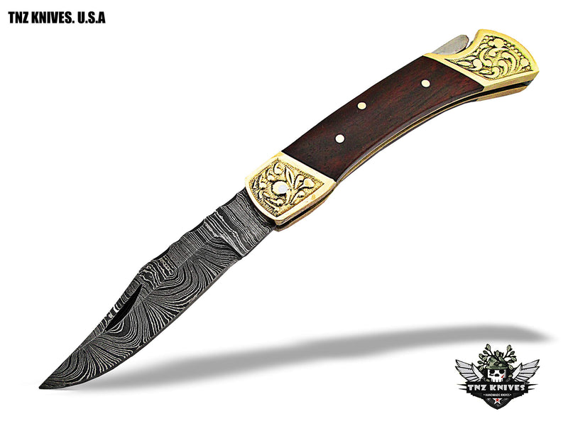 "TNZ -519 USA Damascus Engraved Pocket Folding Knife, 7"" Long with Rose Wood & Lock back"