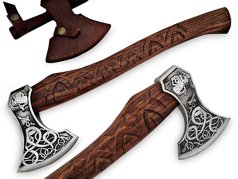 "TNZ-608 Exclusive Engraved D2 Steel Hatchet 19""Long,4.3"" EDGE, 7"" Head width 30oz & Rose Wood Engraved Handle"