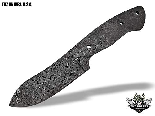 "TNZ- 401 Damascus 9"" Fixed Blade Blank Knife"