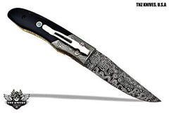 TNZ-467 USA Damascus Pocket Folding Knife, 8