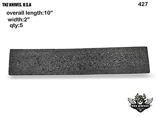 "TNZ-427 Damascus Fixed Blade Blank Billet 10"" Length & 2"" Width For Knife Making Supply"