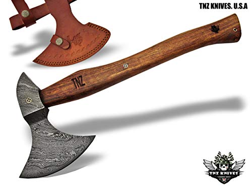 "TNZ-601 Damascus Axe 19""Long,4.5"" EDGE, 8"" Head width & Rose Wood Handle"