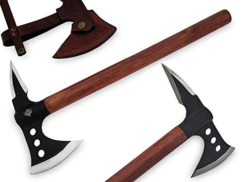 "TNZ-70 USA Stainless Steel Handmade Viking Axe, 18"" Length & Rose Wood Handle"